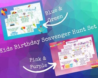 Birthday Scavenger Hunt •Bundle • Pink/Purple Set • Blue/Green Set • Treasure Hunt • Birthday Games • Birthday Activity • Birthday Party Fun
