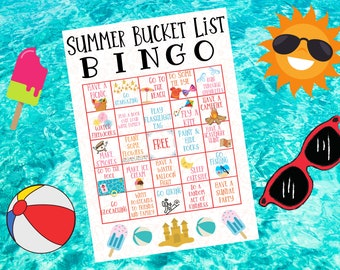 Summer Bucket List • Summer Bingo Card • Summer Bucket List Bingo • Summer Bucket List Printable • Kids Summer Bucket List • Kids Bingo Card