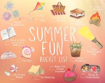 Summer Bucket List Printable • Kids Bucket List • Summer Activities • Bucket List Suggestions • Printable Bucket List • Summer Fun List