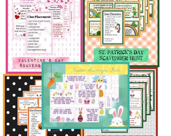 Holiday Scavenger Hunt Bundle for Kids • Valentine's Day • St. Patrick's Day • Easter • Halloween • Christmas • Treasure Hunt •Print at Home