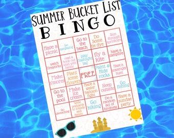 Editable Summer Bucket List • Summer Bingo Card • Summer Bucket List Bingo • Summer Bucket List Printable • Kids Bingo Card • Kids Outdoors