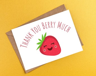 Printable Thank You Card, Thank You Note, Printable Envelope, Funny Thank You Card, Red Thank You Card, Blank Inside, Strawberry