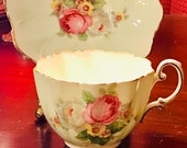 Pretty in Pink-and Green Paragon Double Royal Warrant Pedestal Teacup and Saucer