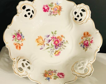 2.5 Inches Square Ring Dish with Flowers Weimar Vintage Bone China Reticulated Edges