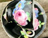 Pretty in Pink-Rare Hand Painted Double Royal Warrant Paragon Pedestal Teacup and Saucer