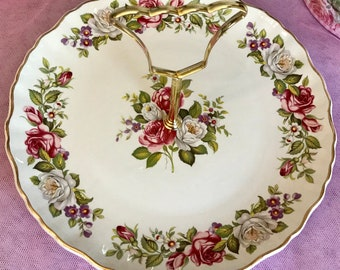 Pretty in Pink-Old Foley James Kent Ltd Handled Cake Plate