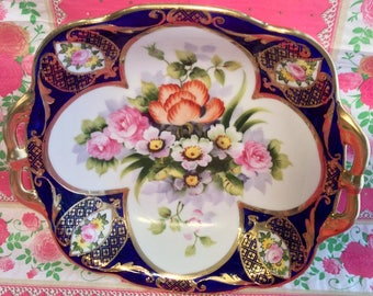 Pretty in Pink Stunning Noritake Hand Painted Heavily Gilded Double Handled Bowl
