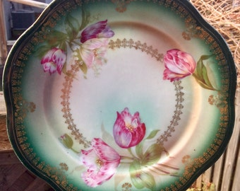 Pretty in Pink-and Green Z S & Co Cabinet Plate