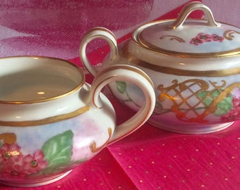 Pretty Pink Addiction-Limoges Creamer and Lidded Sugar Bowl