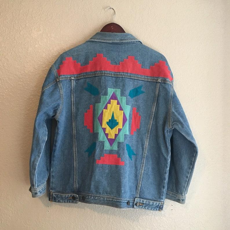 Vintage 80s 90s Native American Southwestern Style Denim Etsy