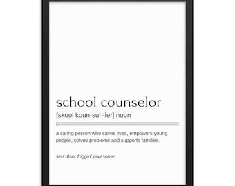 School counselor poster, digital download motivational gift dictionary quote picture wall art office decoration home decor poster, guidance