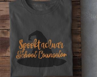 SPOOKTACULAR SCHOOL COUNSELOR | Halloween Shirt | Witch's Hat | Oct 31st | School Counseling | Spooky | School Counselor Unisex T-Shirt