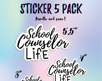 5 PACK Vinyl school counselor sticker, phone laptop quote statement sticker, counselor life quote sticker, die cut any surface sticker