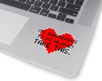 It's Dangerous To Go Alone - Take This Heart Retro Zelda Gaming Kiss-Cut Sticker for Laptop, Water bottle, window