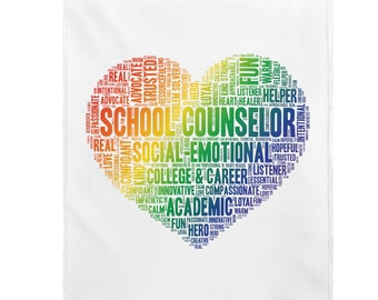 RAINBOW SCHOOL COUNSELOR pride office blanket rainbow, counseling office decor, accept love, heart rainbow, Lgbqt, comfy soft Plush Blanket