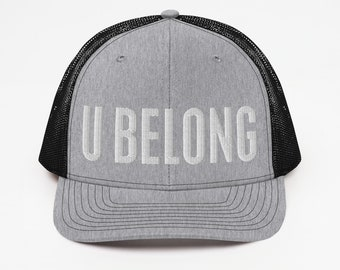 U BELONG 3D Puff Retro trucker Hat educator counselor baseball hat school teacher hat inclusive message custom Trucker Cap Mid Profile Light