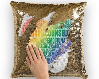 Rainbow School Counselor Adjective Heart Sequin Cushion Cover