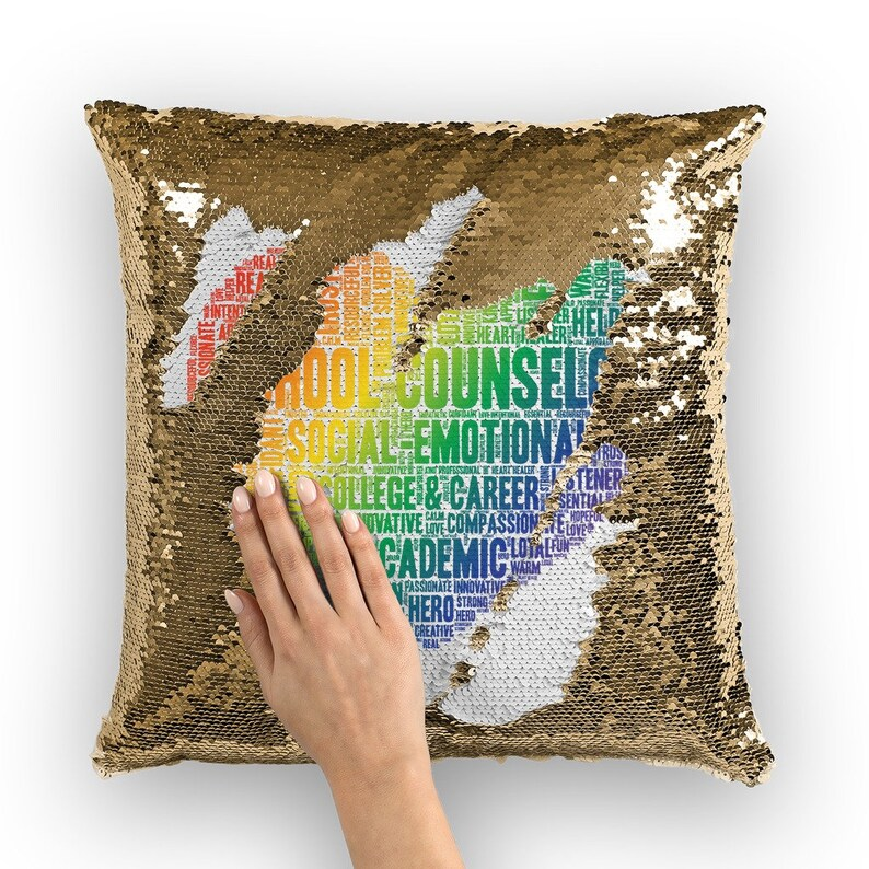 Rainbow School Counselor Adjective Heart Sequin Cushion Cover image 1