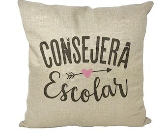 CONSEJERA ESCOLAR, Bilingual School Counselor, School Counselor in Spanish pillow, gift Español Consejera Escolar Dark Throw Pillow w Insert
