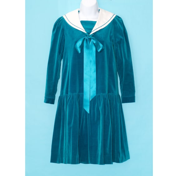 Vintage 1980s Laura Ashley Teal Velvet Sailor Dres