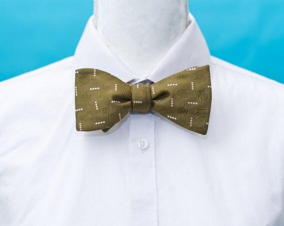 Vintage 1950s Silk Olive Green Bow Tie | Mid-Centu