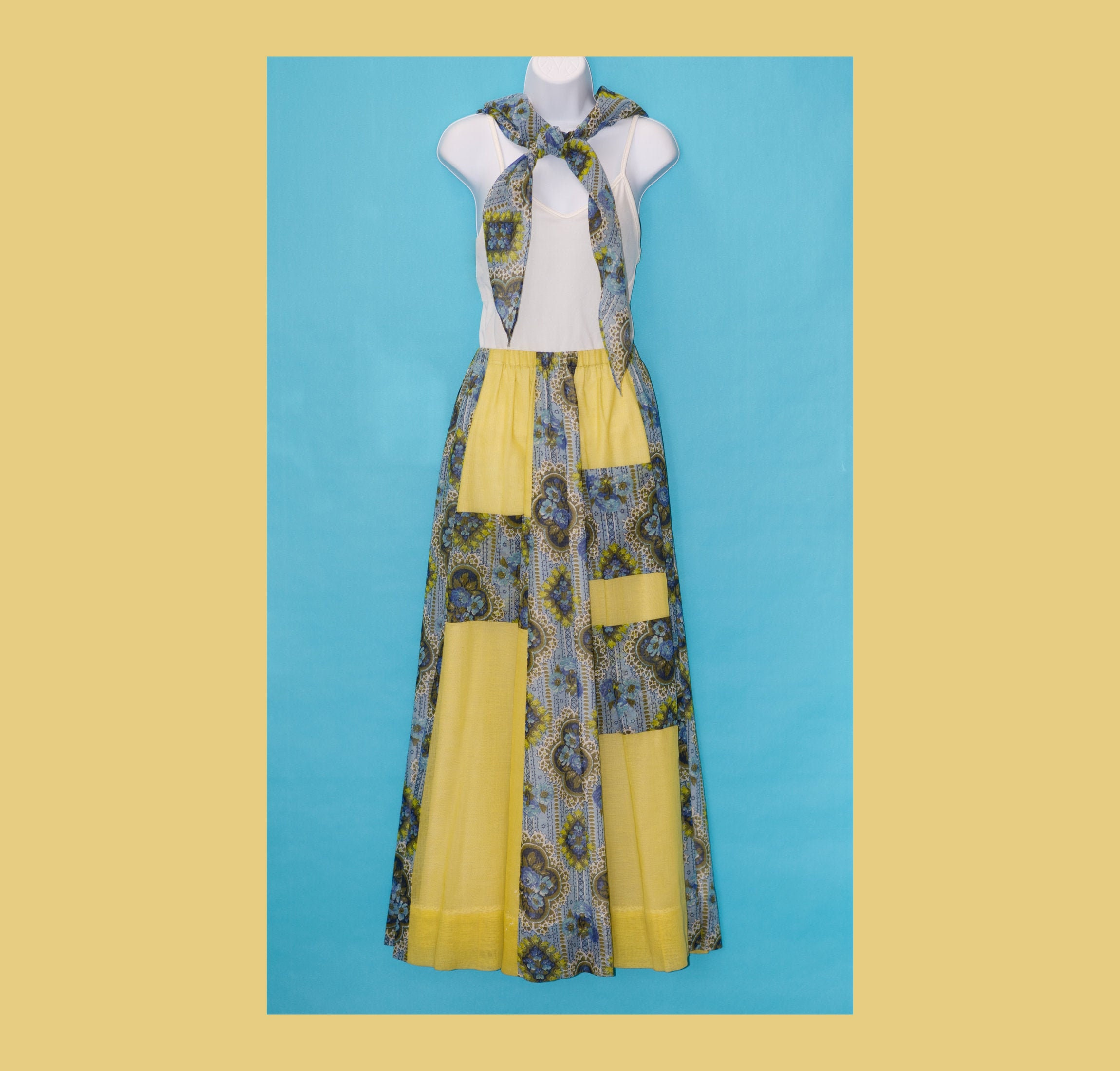 Vintage Scarf Styles -1920s to 1960s Vintage 1970S Patchwork Maxi Skirt With Scarf  Sash By Chessa Davis $0.00 AT vintagedancer.com