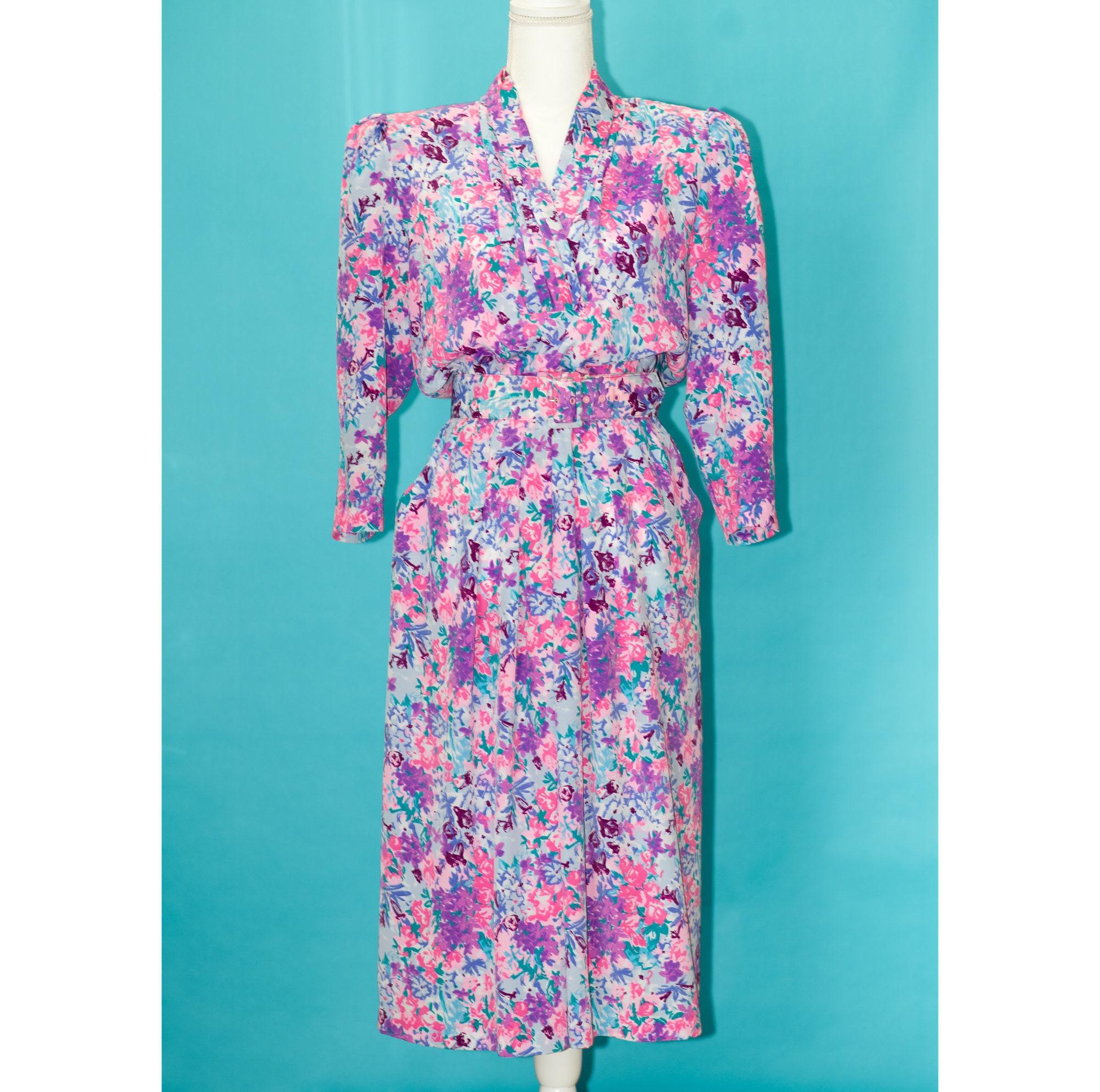80s Dresses | Casual to Party Dresses Vintage 1980S Pink  Purple Floral Dress  Large $0.00 AT vintagedancer.com