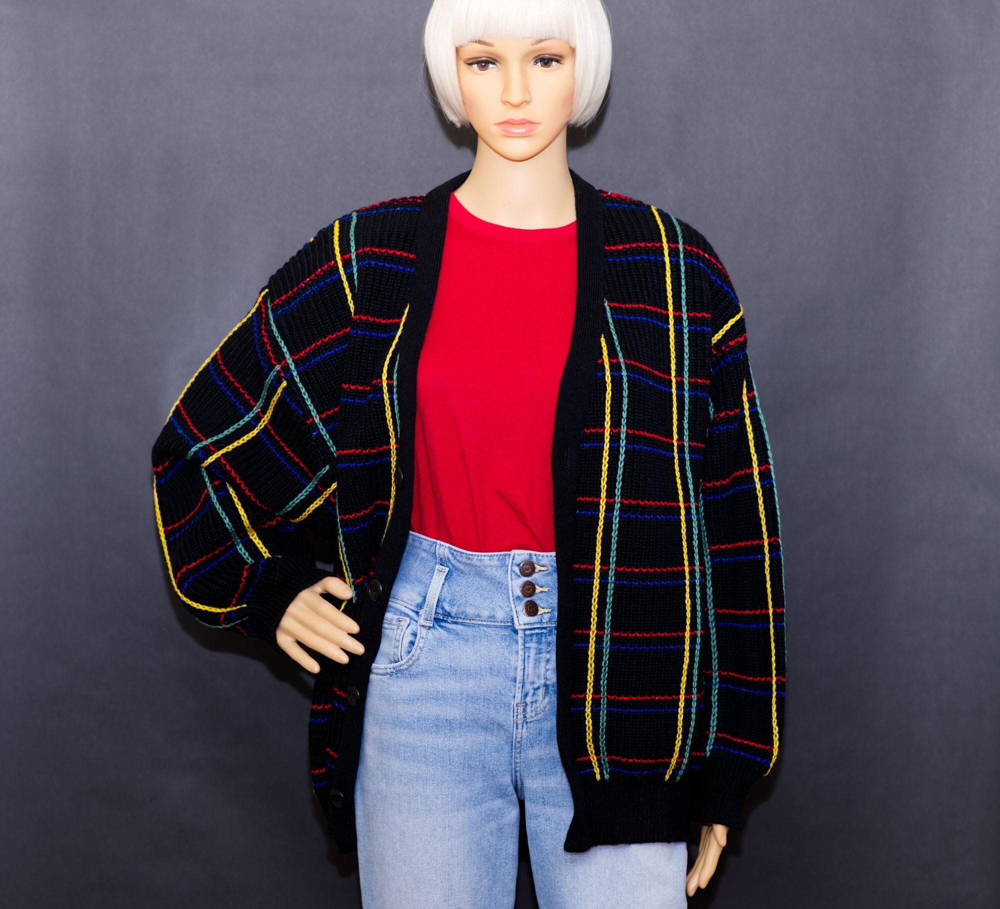 80s Sweatshirts, Sweaters, Vests | Women Vintage 1980S Colorful Stitched Black Cardigan Sweater  Xl $54.00 AT vintagedancer.com