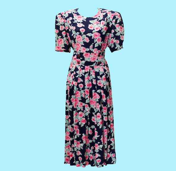 Vintage 1980s Dress | 80s Floral Midi Dress | Larg