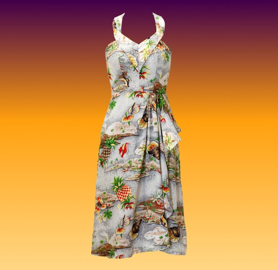 Vintage 1940s Hawaiian Sarong Halter Dress by Holo