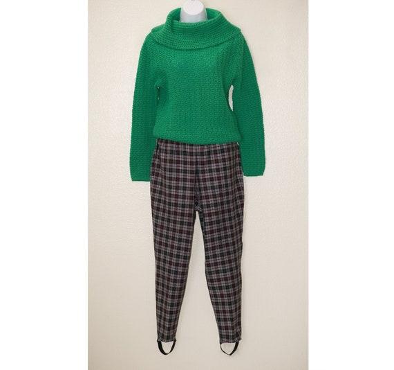 Vintage 80s Stirrup Pants   Plaid 1980s   Black R… - image 1