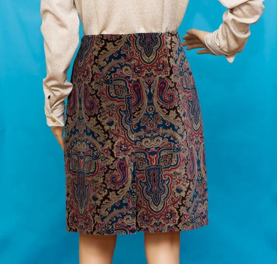 Vintage 1990s Velvet Paisley Skirt   Medium - image 3