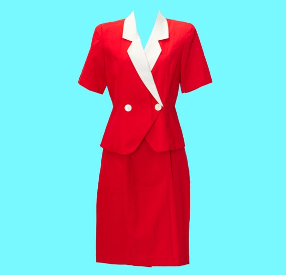 Vintage 1980s Suit - 1940s Style | 80s Red Skirt S
