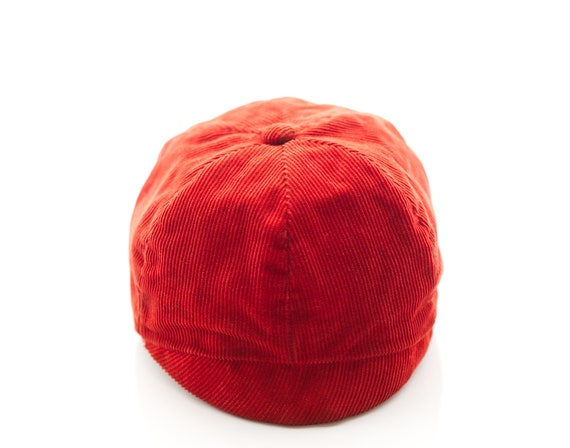 Vintage 1930s Child's Hat | Red Corduroy Cap