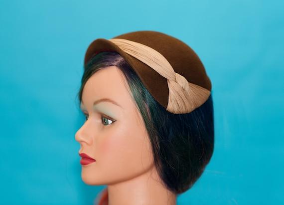 Vintage 1950s Brown Calot Hat Juliet Cap