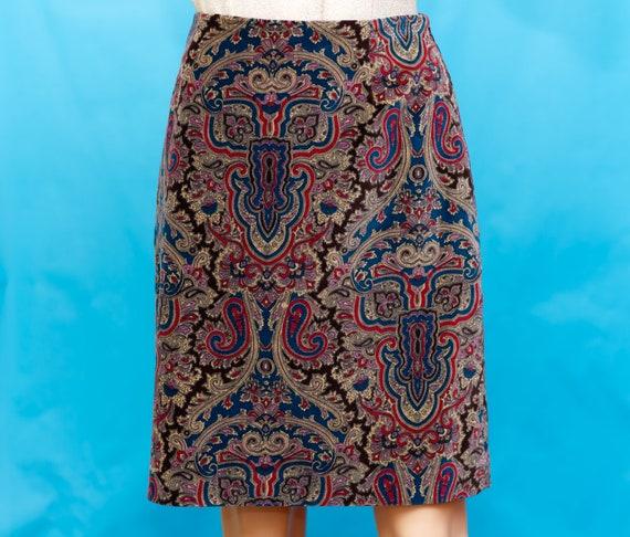 Vintage 1990s Velvet Paisley Skirt   Medium - image 2