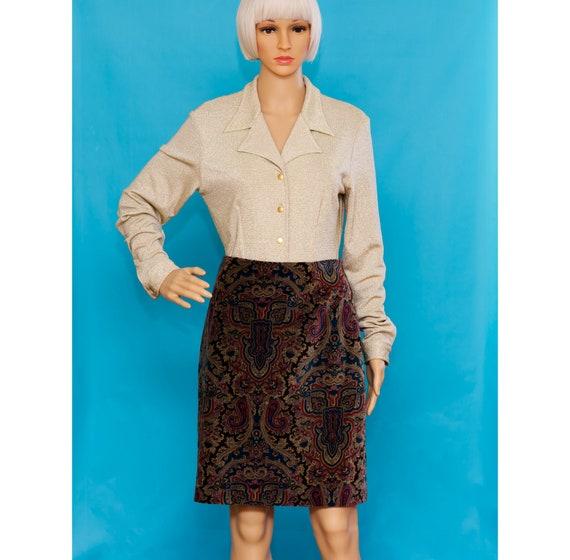 Vintage 1990s Velvet Paisley Skirt   Medium - image 1
