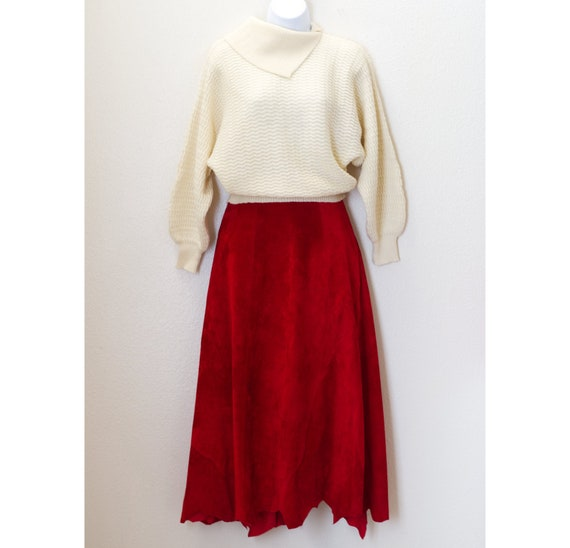 Vintage Red Suede Skirt | 1980s Western Skirt