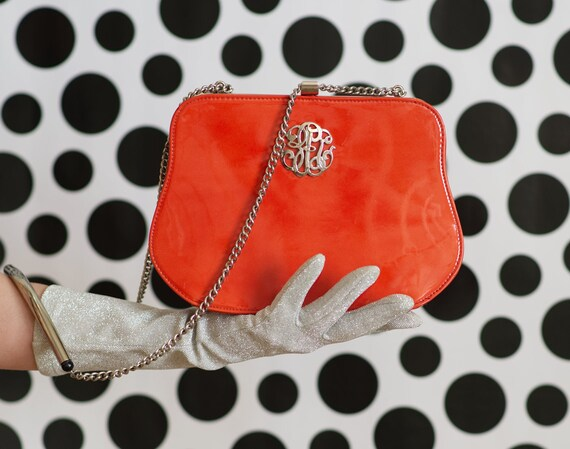 Vintage 1960s Orange Patent Leather Purse Handbag