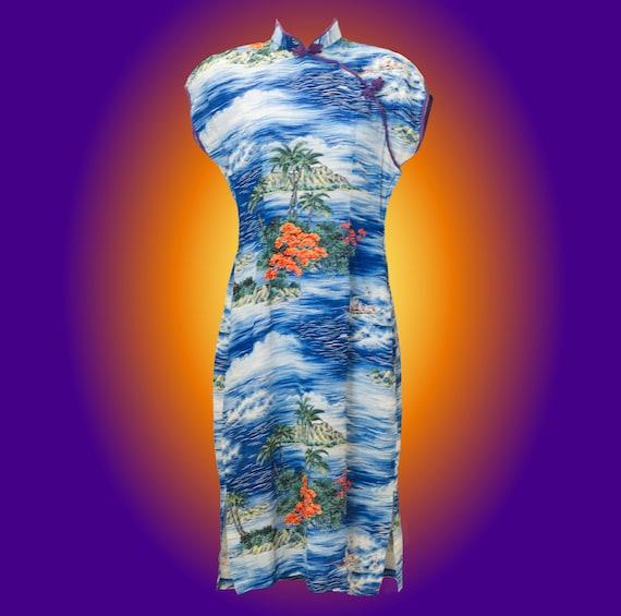 Vintage 1940s Hawaiian Print Dress with Mandarin C