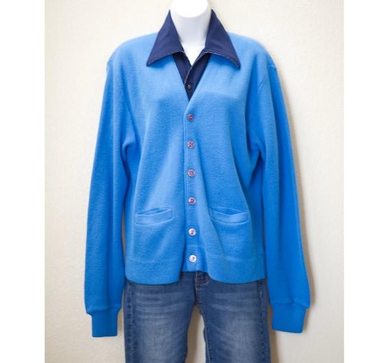 Vintage 1950s Blue Cardigan Sweater | 50s Campus C