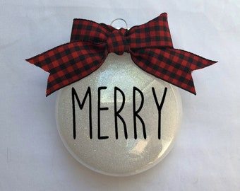 Farmhouse Style Ornament // Customizable // Disc Ornament // Glitter Christmas Ornament // Free Shipping // Wonderfully Made Creations