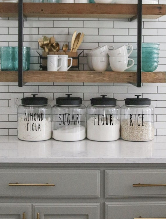 rae dunn inspired labels kitchen labels canister labels etsy