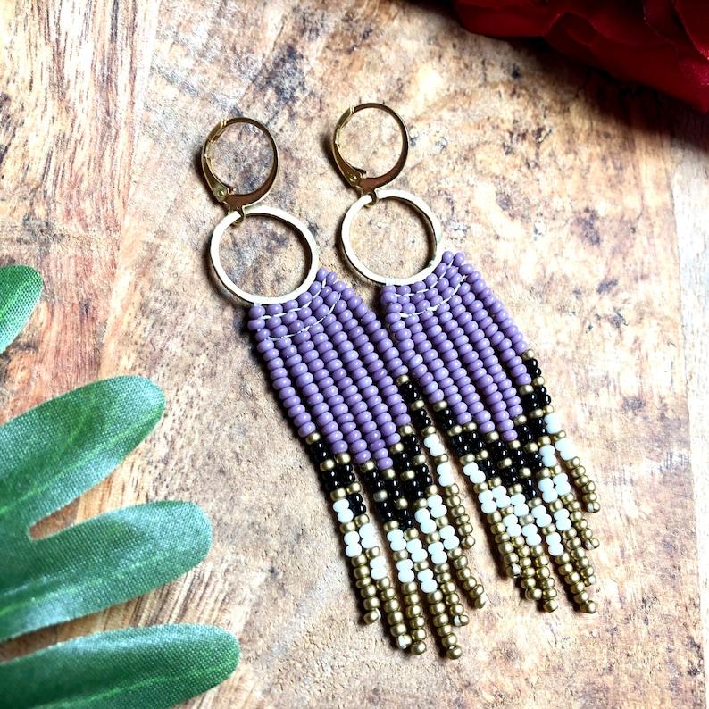Brass Earrings Beaded Earrings Circle Earrings Seed Bead Fringe Earrings Fringe Earrings Boho Earrings