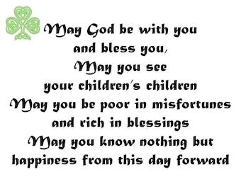 Irish Wedding Blessing Toast Irish Inspired Wedding Poem Etsy