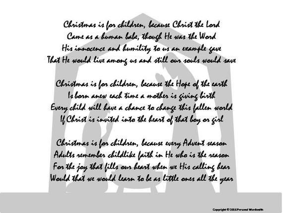Child Christmas Poetry.Nativity Poem Digital Print Downloadable Christmas Poetry Poem For Christmas Cards Original Christian Advent Poetry Christmas Card Poem