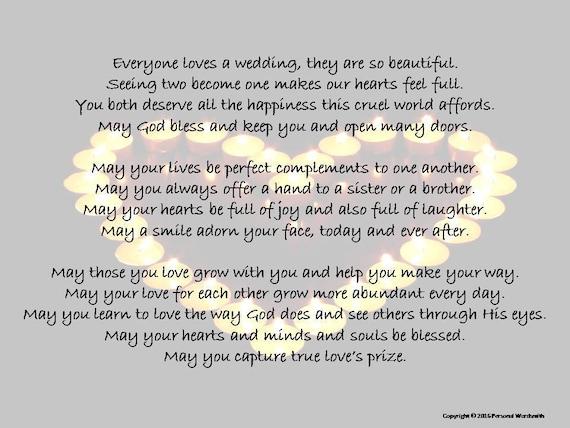 Wedding Poem Blessing Toast Digital Print Printable Marriage Poem Blessing Toast Wedding Blessing Digital Download Marriage Love Poetry