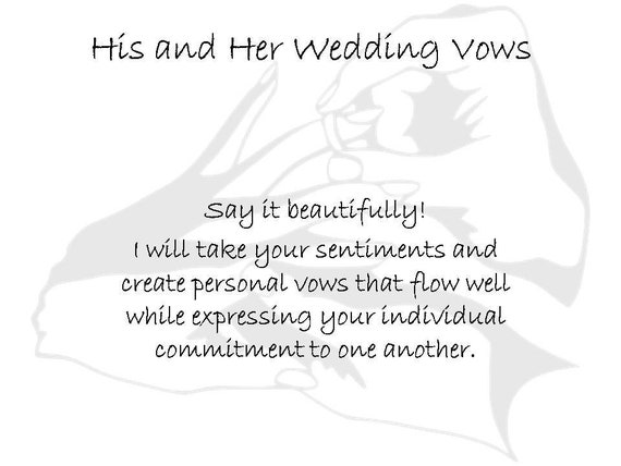 His And Her Wedding Vows Writer Help With Wedding Ceremony Bride And Groom Personal Vows Marriage Vows Ghost Writer Professional Vows