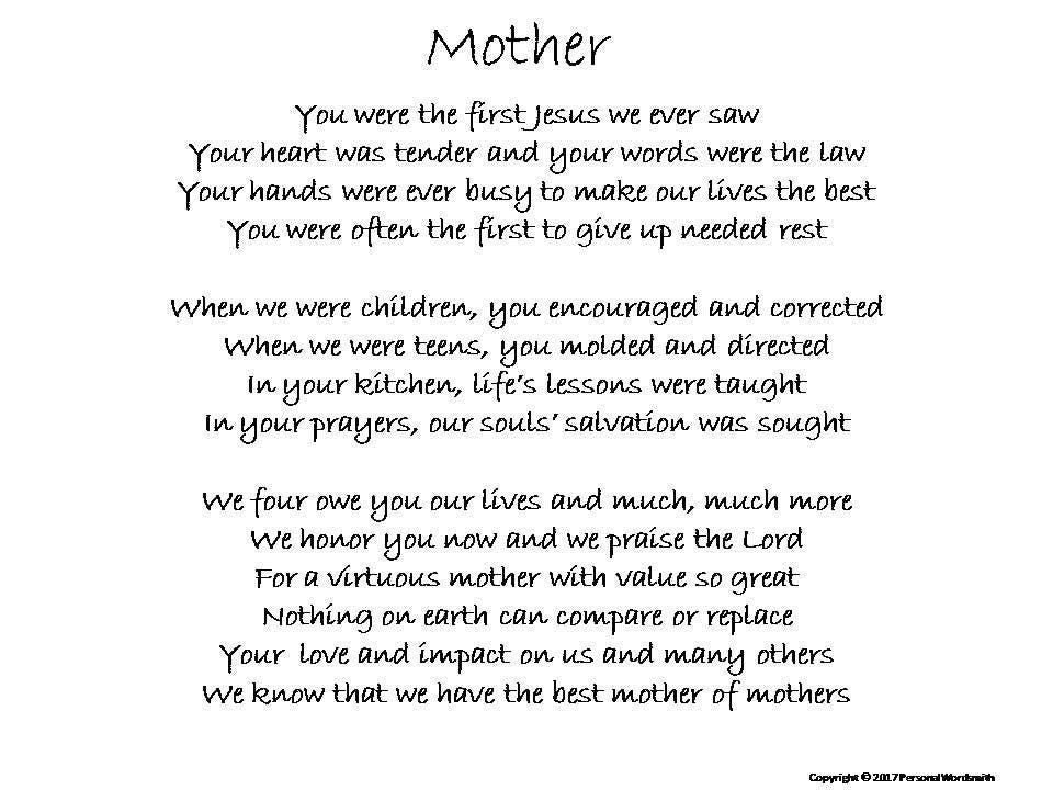 Poetry for Mother, Virtuous Mother Digital Download, Printable Poem to  Honor Mom, Toast to Mother Digital Print, Mother's Birthday Toast