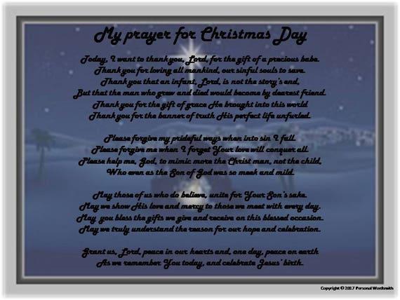Christmas Blessing Prayer.Original Christmas Card Poem Print Christmas Prayer Blessing Digital Download Holiday Prayer Print Christian Christmas Hostess Gift Art